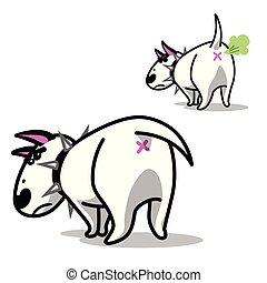 dog., reizend, böser , terrier., vektor, stier, weißes, karikatur
