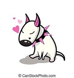 dog., reizend, love., vektor, stier, weißes, terrier, karikatur
