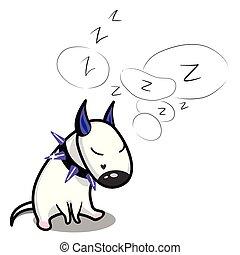 dog., reizend, terrier., eingeschlafen, vektor, stier, weißes, karikatur