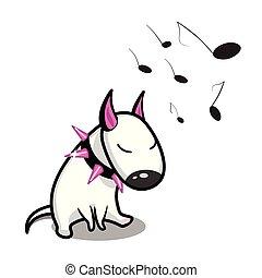 dog., reizend, vektor, zuhören, stier, weißes, music., terrier, karikatur