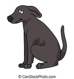 doggie, karikatur, hundehütte, freigestellt, club., vektor, salon, hund, stammbaum, abbildung, inländisch, training, haustier, rasse, purebred, mascot., reizend, windhund, eckzahn, sitzen, junger hund, breed., clipart.