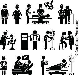doktor, chirurgie- krankenschwester, klinikum