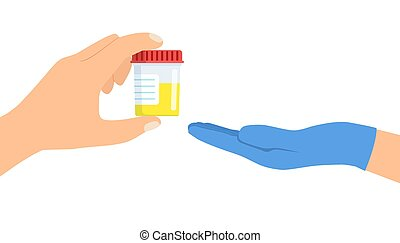 doktor, gibt, patient, krug, urine.