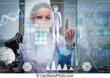 Doktor in futuristischem Medizinkonzept, drücken Sie Knopf.