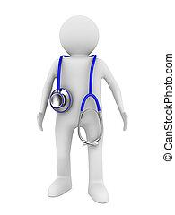 Doktor mit Stethoskop auf weißem Hintergrund. 3D-Bild isoliert