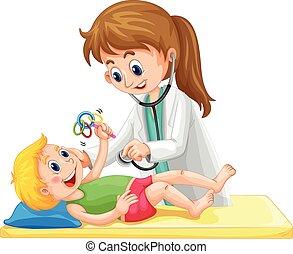 Doktor untersucht Kleinkind.