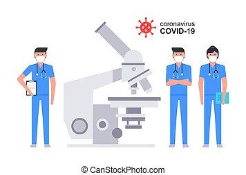 doktoren, mittler, gruppe, arbeitende , mikroskop