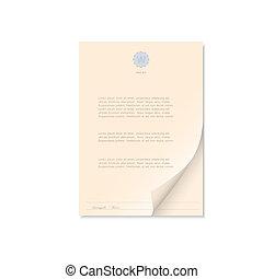 Dokument isoliert auf weiß