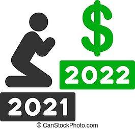 dollar, ikone, mann, vektor, beten, 2022, wohnung