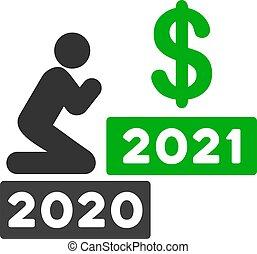 dollar, ikone, mann, vektor, beten, wohnung, 2021
