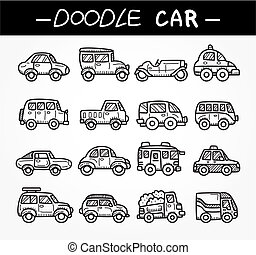 Doodle-Car-Ikone-Set