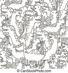 Doodle Dinosaurier nahtlos Muster