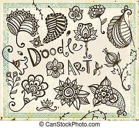 Doodle-flora-Designelemente. Vector Set.