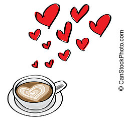 Doodle illustriert valentine Dating Konzepte mit herzförmigem Latte.