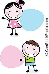 Doodle-Junge und Mädchen mit leeren Bannern