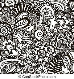 Doodle-Monochromdruck. Nahmloser Hintergrund.
