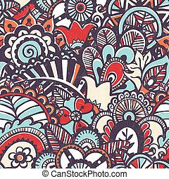 Doodle nahtlos drucken. Floral Hintergrund.
