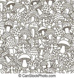Doodle Pilze nahtlos. Schwarz und weiß