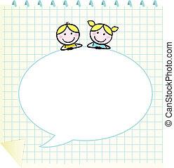 Doodle-Schule-Kinder mit Notepad und leere Sprachblase