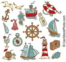 Doodle-Sea-Elemente für dein Design, Sammelalbum in Vektor