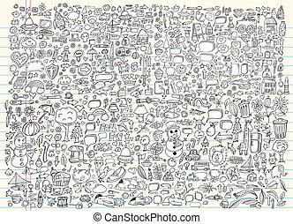 Doodle-Sketch-Evektor eingestellt