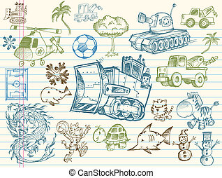 Doodle-Sketch-Vektorelemente gesetzt