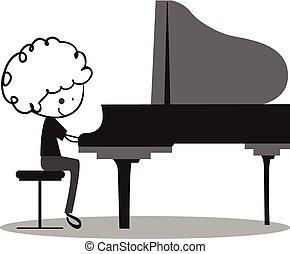 Doodle spielt Klavier.