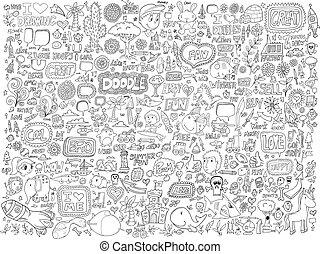 Doodle-Tiere, Menschen mit Blumen