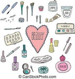 doodles, kosmetikartikel, schoenheit, heiligenbilder