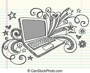 doodles, laptop-computer, sketchy