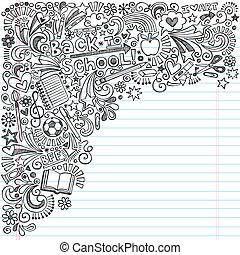 doodles, schule, notizbuch, zurück, tinte