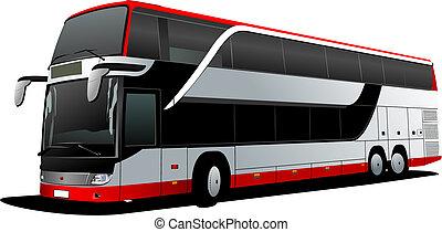 Doppeldeckerroter Bus. Tourist Coach. Vektor Illustration