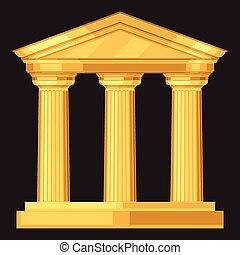 Dorische realistische antike griechische Tempel mit Säulen.