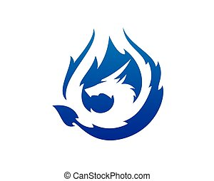 drache- feuer, brennender, blaues, vektor