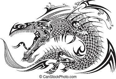 Drachen-Doodle-Tattoo-Vektor.