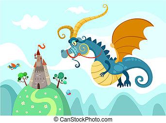 Drachen mit Schloss