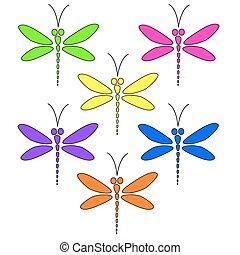 Drachenfliegen verschiedener Farben.
