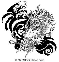 dragon., kopf, weißes, asiatisch, schwarz