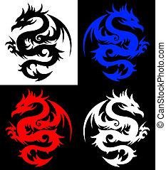 Dragon, Tribal-Tattoo.