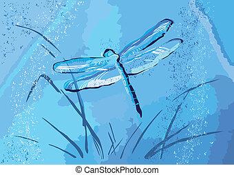 Dragonfly auf einem grungeblauen Hintergrund.