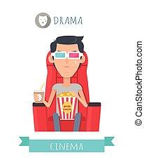 Drama-Film-Flachbild-Vektorkonzept
