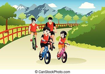 draußen, chinesisches , familie, abbildung, asiatisch, radfahren