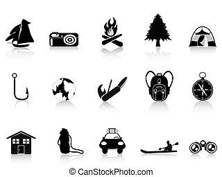 draußen, schwarz, camping, ikone