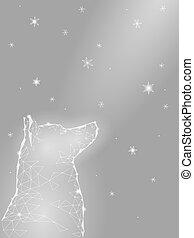 dream., chinesisches , auf, abstrakt, poly, laika, jahr, template., schauen, himmelsgewölbe, polygonal, niedrig, sternen, neu , weißes, hoffnung, glücklich, dreieck, sitzen, abbildung, geometrisch, karte, dog., graue , schneeflocken, gruß, vektor, nacht