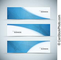 Drei abstrakte, blaue Geschäftsleiter.