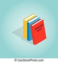Drei Bücher Ikonen, isometrische 3D-Stil