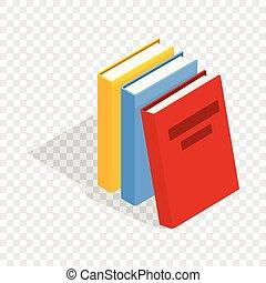 Drei Bücher isometrische Ikone.