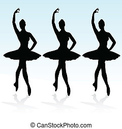 Drei Ballerinas auf dem Podium
