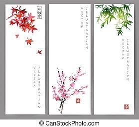 Drei Banner mit Ahorn, Bambus und Schakura