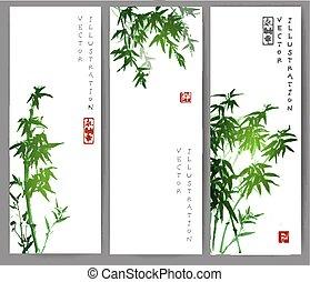 Drei Banner mit grünen Bambusbäumen.